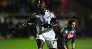 Swansea's Wilfried Bony reacts after a near miss during the game against Napoli.