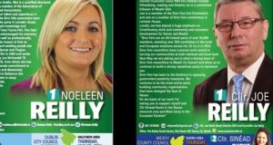 Leaflets for Sinn Féin candidates Noleen Reilly and Joe Reilly showing the incorrect date for the the local elections.