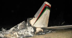 The wreckage of a Libyan military plane is seen in Grombalia town, south of Tunis.Photograph: Stringer/Reuters.
