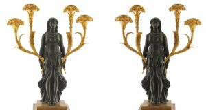 A pair of French Empire-period bronze and gilded figural candelabra (€15,000-€25,000) at Sheppard's