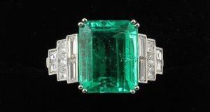 Emerald ring features a 6.59ct stone of Colombian origin and is estimated at €20,000-€25,000, at O'Reilly's