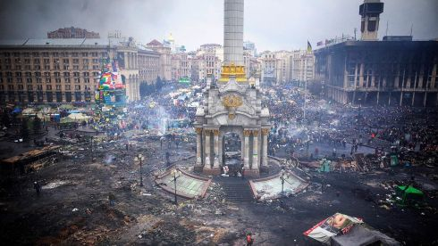 Image showing the destruction of the city after days of riots in Kiev. The violence claimed 77 lives this week. Photographer: Vincent Mundy/Bloomberg