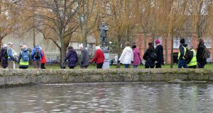 The Lets Walk and Talk walking group in Ranelagh Gardens. Photograph: Alan Betson