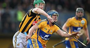 Henry Shefflin in action against Clare's   Brendan Bugler at Ennis last weekend. Photo: Cathal Noonan/Inpho