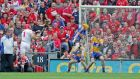 Clare goalkeeper Patrick Kelly saves a penalty from Cork's Anthony Nash during last year's All-Ireland final. Photo: Morgan Treacy/Inpho