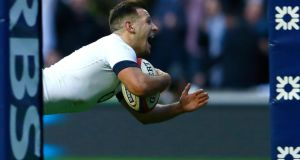 England's Danny Care goes over for England's winning  try during the Six Nations clash against Ireland at Twickenham. Photograph: Eddie Keogh/Reuters