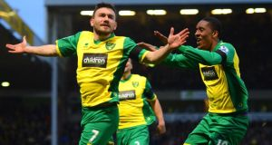 Robert Snodgrass of Norwich City (left) celebrates scoring the winner against Spurs with Leroy Fer of Norwich City. Photograph:  Michael Regan/Getty Images