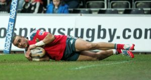 Munster's Simon Zebo was on the scoresheet against Ospreys. Photograph: Huw Evans/Inpho