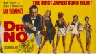 "The Irish version of the 1962 cinema poster for the first James Bond film, Dr No, which  was censored by having a black dress ""painted"" on to Ursula Andress to hide her bikini."