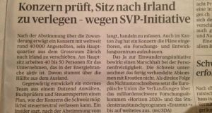 "In Zürich's 'Tages-Anzeiger', the growing unease is front-page news. Under the headline ""Concern examines shifting base to Ireland"" the paper reported that an unnamed energy company, employing 40,000 people worldwide, had already called in consultants"