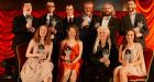 The winners with their awards at the 17th annual Irish Times Irish Theatre Awards last night. Photograph: Cyril Byrne, The Irish Times