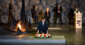 Peru's president Ollanta Humala lays a wreath during a ceremony in the Hall of Remembrance at the Yad Vashem Holocaust memorial in Jerusalem this month. Photograph: Baz Ratner/Reuters