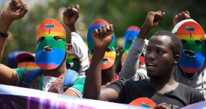 Kenyan supporters of the LGBT community chant slogans against Uganda's anti-gay bill in front of the Ugandan High Commission in Nairobi, Kenya, last week.  Photograph: Dai Kurokawa/EPA