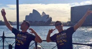 Kyryll Chulak and Salim Sebaoui  from Trinity College Dublin who have won this year's Jailbreak student charity event by reaching Sydney without any money. Photograph:  Kyryll Chulak via Twitter