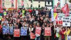 Large crowds have protested over the cut in acute inpatient psychiatric beds at St Brigid's Hospital, Ballinasloe. Despite these protests, the unit has closed its first beds. Photograph: Hany Marzouk
