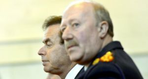 Minister for Justice and Equality Alan Shatter  with Commissioner Martin Callinan. A lot rests on the two men's response to the crisis. Photograph: Brenda Fitzsimons