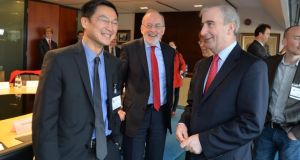 MEPs Liem Hoang Ngoc and Gay Mitchell, with Patrick Honohan, Governor of the Central Bank (centre). Photo: Alan Betson/The Irish Times
