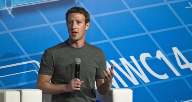 Mark Zuckerberg, chief executive officer of Facebook, speaks during a keynote session on the opening day of the Mobile World Congress in Barcelona. Photo: Bloomberg