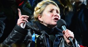 Former Ukrainian prime minister Yulia Tymoshenko addresses the crowd in Independence Square after being freed from prison on Saturday. Photograph: Jeff J Mitchell/Getty
