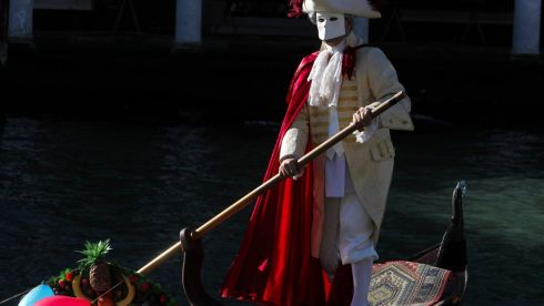 A gondolier gets in on the wacky act. Photograph: Manuel Silvestri/Reuters