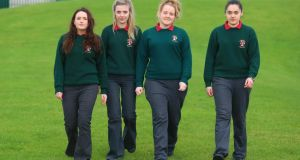 Grace Walsh, Jess Crowley, Michaela O'Shea and Nicola Power of St Paul's Community College, Waterford city, wearing trousers. Photograph: Patrick Browne
