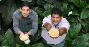 Promoting Fairtrade Fortnight are Alfredo Ortega (right) vice-chairman of the Belize Sugar Cane Farmers' Association and Alex Flores of the Aprainores Cashew Nut Co-op, El Salvador. Photograph: Sasko Lazarov/Photocall Ireland