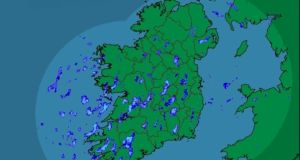 A radar image showing rainfall over Ireland at 4pm today. Image: Met Éireann