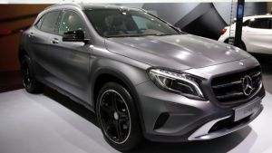 A Mercedes-Benz GLA compact SUV, produced by Daimler AG, on display at the 65th Frankfurt International Motor Show in Frankfurt, Germany, late last year. Photograph: Jason Alden/Bloomberg