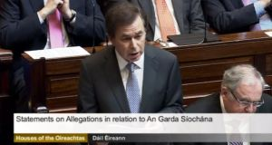 Minister for Justice Alan Shatter addressing the Dáil this morning on the handling on the Garda whistleblowers issue.