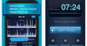 Sleepbot: tracks sleep and records sounds such as snoring as well as giving tips on how to fall asleep more easily.