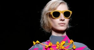 A model wears a creation for Dries van Noten's ready-to-wear autumn/winter collection. Photograph: AP