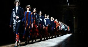 Models wear creations for Dries van Noten's ready-to-wear autumn/winter collection. Photograph: AP