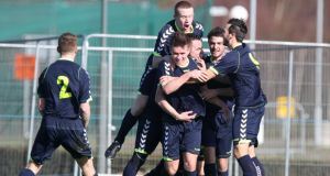Maynooth players celebrate their opening goal against UCD at Belfield. Photo: Ed Scannell