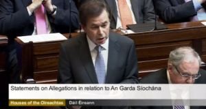Minister for Justice Alan Shatter addressing the Dail yesterday on the handling of the Garda whistleblowers issue.