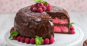 Chocolate and raspberry celebration cake