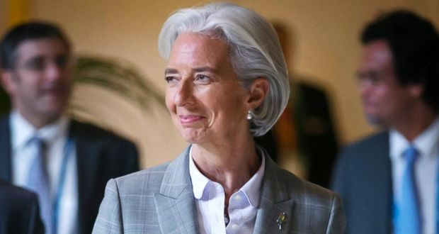 Christine Lagarde said a team would go to Kiev to carry out an independent assessment of the economic situation in Ukraine in the coming days. Photograph: Ian Waldie/Bloomberg