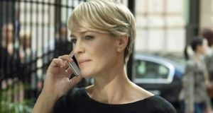 Robin Wright as Claire Underwood in stills from the Netflix hit, House of Cards, above and below