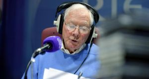 Justifiably famous:  Gay Byrne presenting his Time Warp show on Lyric FM. Photograph: Alan Betson