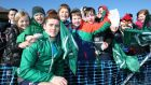 Paddy Jackson poses for a picture with young fans during the Ireland squad's open training session at Newforge Country Club, Belfast. Photo: Billy Stickland/Inpho