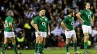 Ireland's Issac Boss, Martin Moore, Gordon D'Arcy and Devin Toner dejectedat Twickenham. Photograph: James Crombie/Inpho