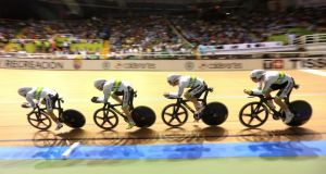 The Australian team competes to win gold medal in the Men's Team Pursuit final race at the 2014 UCI Track Cycling World Championships in   February.  Photograph: Jose Miguel Gomez/Reuters