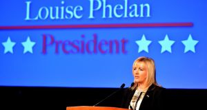 Louise Phelan, president of the American Chamber of Commerce Ireland, speaking at the Four Seasons Hotel, Dublin, yesterday. Photograph: David Sleator/The Irish Times