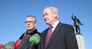 Sinn Féin Deputy First Minister Martin McGuinness and Gerry Kelly MLA at Stormont yesterday after a meeting with Northern Secretary Teresa Villiers