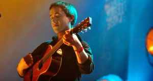 Conor O'Brien of the Villagers playing at the Meteor Choice Music Prize in Vicar Street, Dublin on Thursday night. Photograph: Aidan Crawley