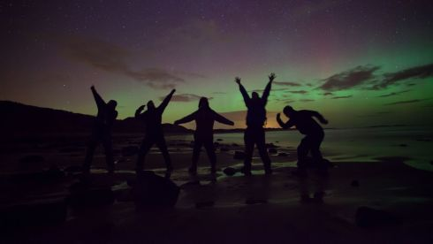 Making a party out of the phenomenon at Embleton Bay in Northumberland. Photograph: Tom White/PA Wire