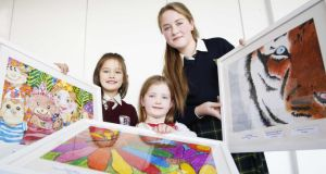 Elese Doyle from Ballyduff National School, Co Wexford, Naoise Clarke-Carr from Ratoath Junior National School, Co Meath and Ashling Crawte from Ballyduff National School, Co. Wexford, winners in the  Sightsavers Junior Painter Competition