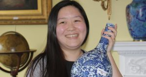 Yulin Wang, Dundrum, Dublin with the Chinese vase which sold for €170,000 at Sheppard's auction in Durrow, Co Laois.