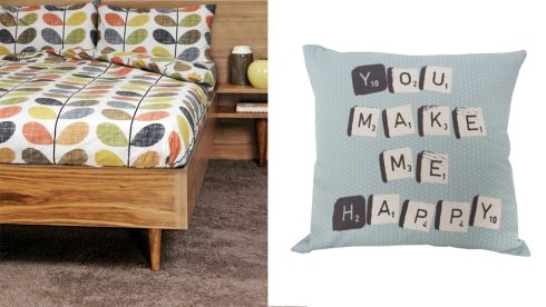 Orla Kiely super king multistem duvet, €124.96, Kilkenny Shop Scrabble cushion, €5, Penneys