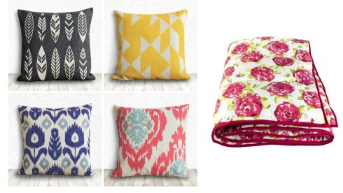 Throw pillows, €15.68 each, 5C Home Decor on etsy.com Queenie eiderdown, €145.38 (p&p inc), raggedrose.com