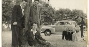 Christy Brown, seated front, and his family